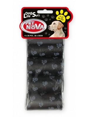 PET NOVA higieniniai maišeliai išmatoms juodi 4x20vnt