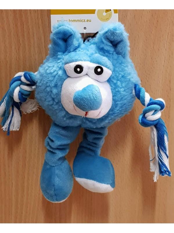 """Žaislas šunims pliušinis su virvinėmis rankomis """"Monstras"""" (žydras) 21 cm"""