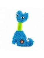 Žaislas šunims pliušinė katė guminiu kaklu 23 cm