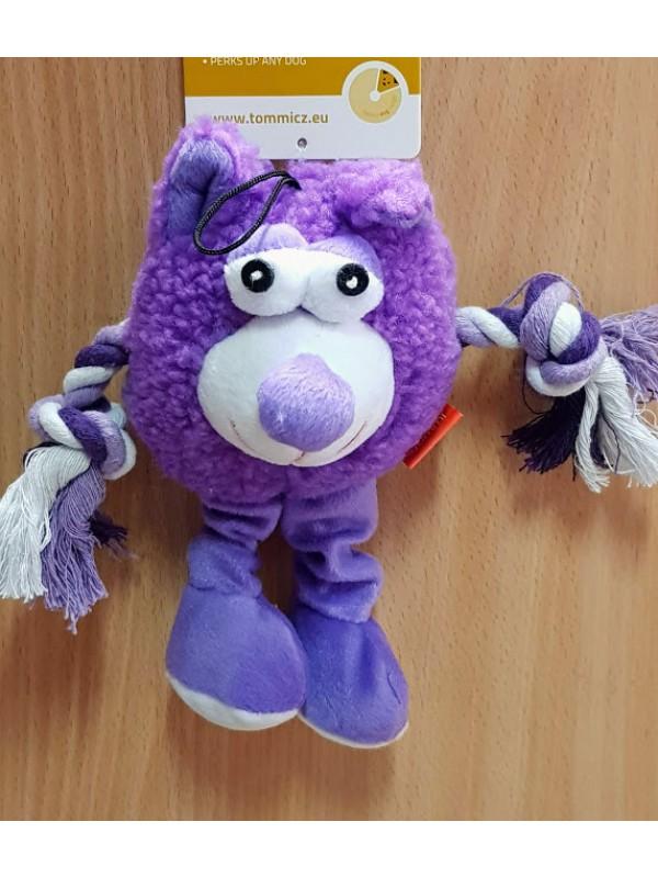 """Žaislas šunims pliušinis su virvinėmis rankomis """"Monstras"""" (violetinis) 21 cm"""