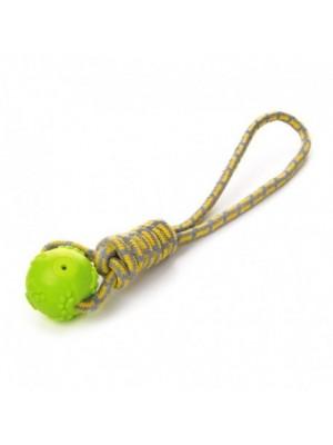 Žaislas šunims kamuolys su virve, žalias, 42 cm